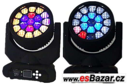 2 kusy LED moving-rotate Bee head 19x15W + case