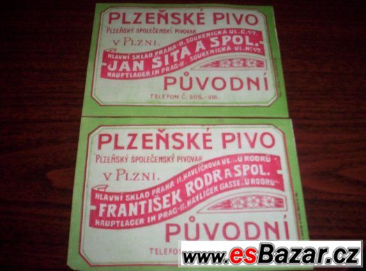 pivní etikety Plzeň 2ks - rozdílné