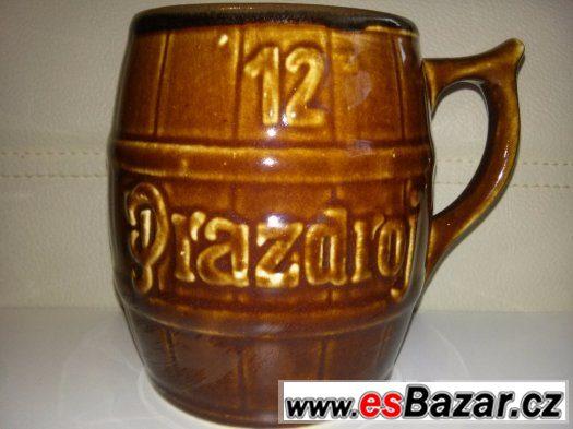 starý keramický půllitr hnědá glazura