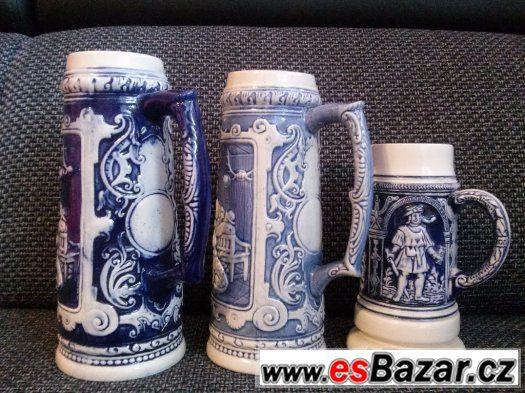 porcelánový půllitr modrý 3 ks
