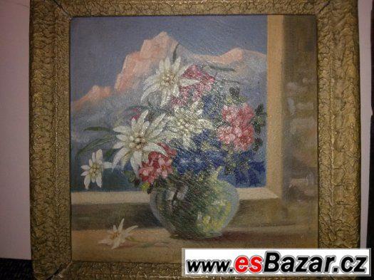 Starý obraz 22x22 cm . 2 ks, KYTICE