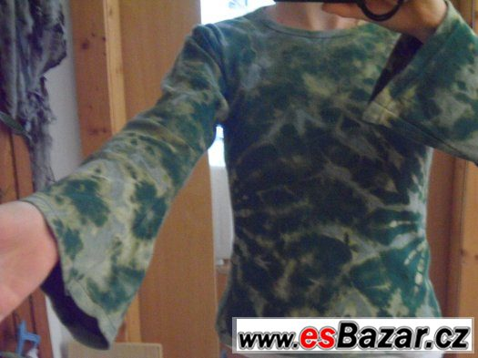 TRIČKO s dlouhým rukávem batikované