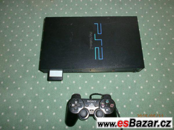 PS2 + ovladač + paměťovka 8MB