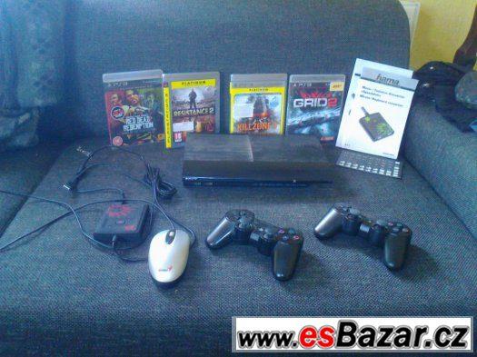 PS3 Slim  2x ovladač,hry kabely