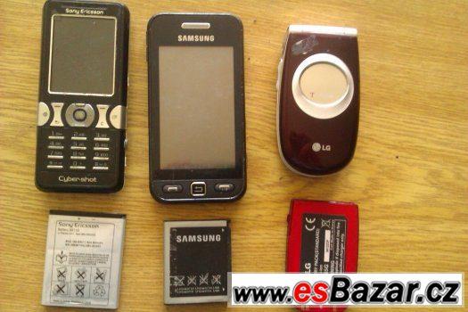 Prodej 3 nefunkčních mobilů (s funkč.baterií) na ND/sbírku