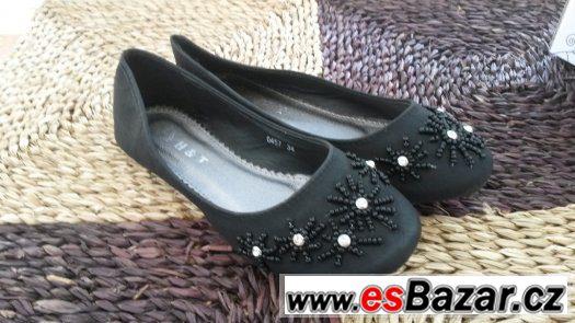 Černá společenská obuv pro dívky - velikost 34