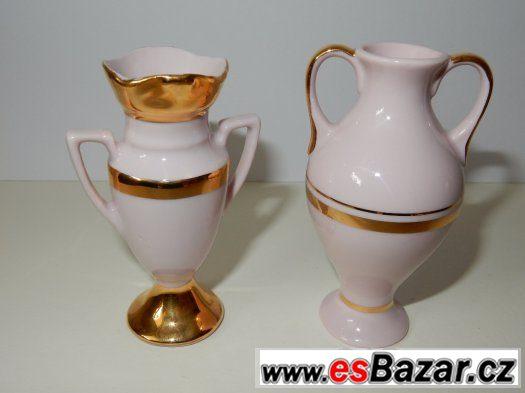 2 sběratelské miniatury z růžového porcelánu