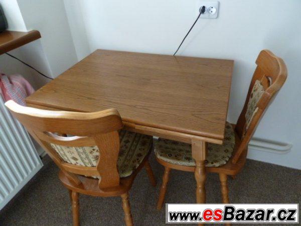 Prodám dřevěný stůl se 2 židlemi