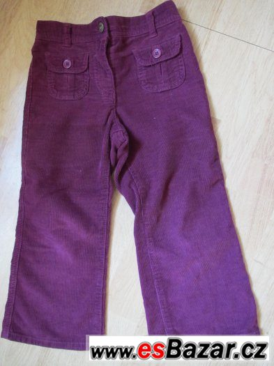 Vínové manžestrové kalhoty George,vel. 3-4 roky