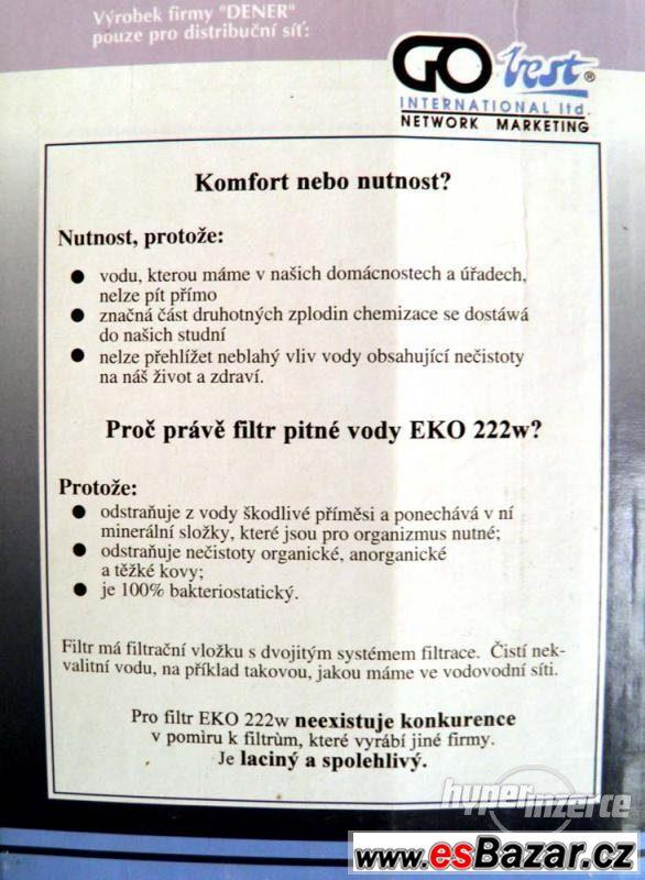 Nový filtr na pitnou vodu EKO 222W