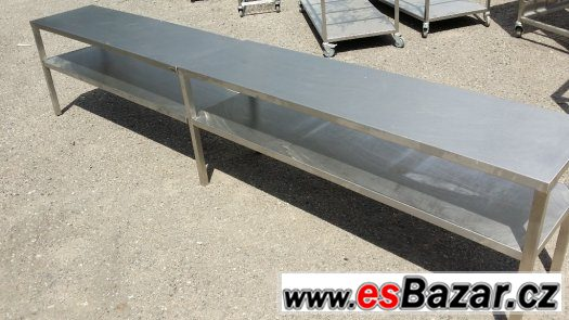 Nerezová lavice - stůl s policí 288x40x60 cm