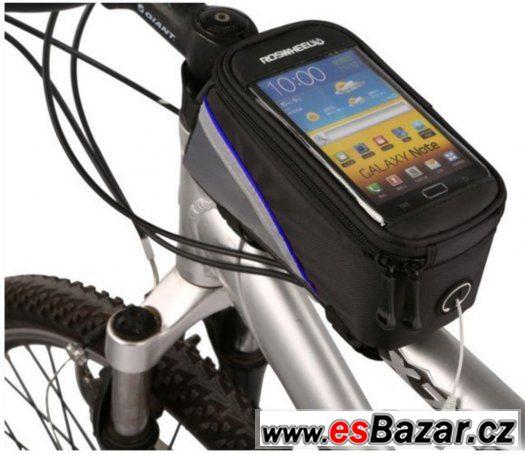Šedo-černá kapsička s modrým proužkem na kolo, na mobil...