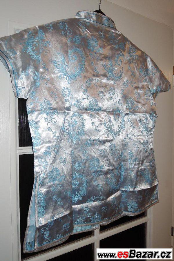 Klas. čínská halenka modrostříbrná