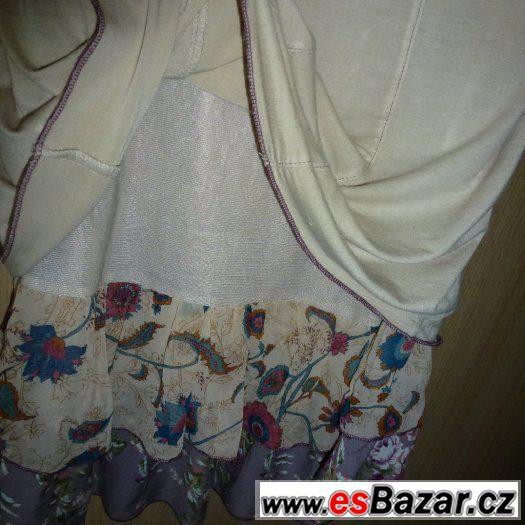 Šaty béžové s květy