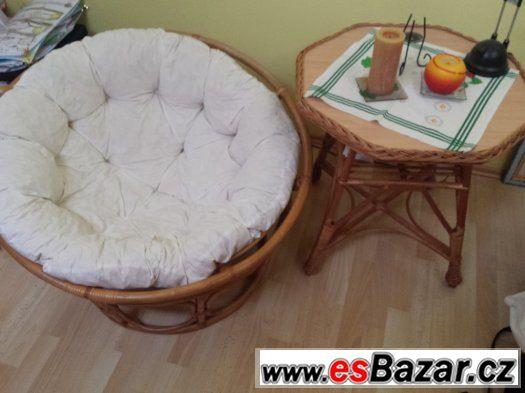 Ratanový papasan bílý / kulaté ratanové křeslo se stylovým s