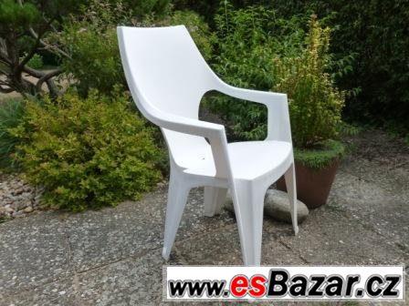 Zahradní křesílka plastová, bílá, stohovatelná - 4ks