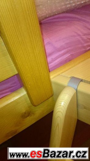zvýšená postel jednolůžko Domestav + schůdky, skluzavka,
