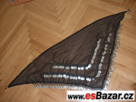 Profesionální černý šátek na orientální tanec