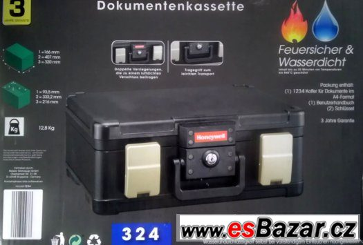 TREZOR-kufřík na A4,ohni do 840st.C a vodě 30minut odolný