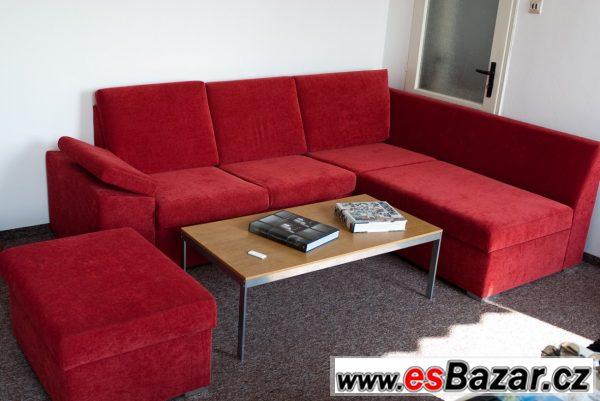 Červená sedačka do L s bobkem