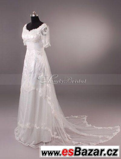Prodám bílé svatební šaty s krajkou 4dceb61dc77