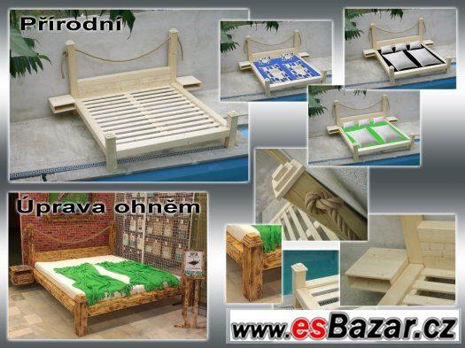 POSTEL Z MASIVU – NOVÁ, rošt + 2x noční stolek