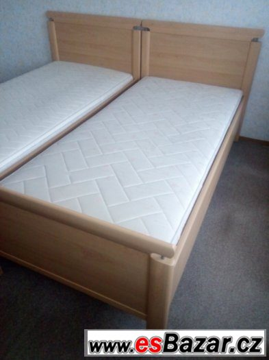 krásné kvalitní postele 2ks s rošty a super matracemi