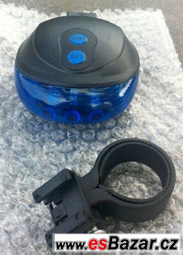 Modrou výstražnou LED svítilnu + červený laser na kolo