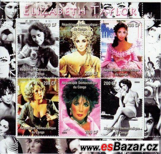 malý aršík - Elizabeth Taylor & Bígl - známky ( kus 89.- )