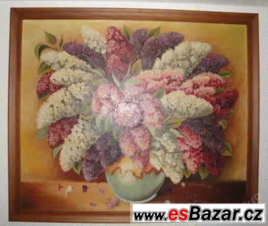 velký krásný obraz 90x105 cm KYTICE (olej-plátno)