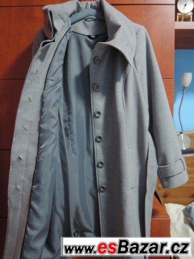 Nový dlouhý dámský šedý flaušový kabát