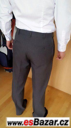 Kalhoty tmavě šedé proužkované PERRY ELLIS