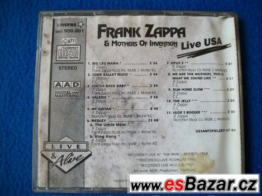 CD Frank Zappa Mothers of Invention - Live USA