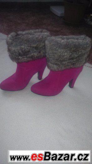 Růžové boty s kožíškem vel.37 c361419ded