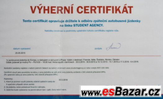 Certifikát pro 1x zpáteční autobusovou jízdenku SA