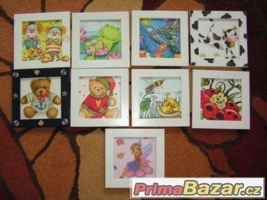 Dětské obrázky, dekorace dětského pokoje, květináče