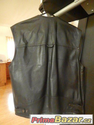 Prodám koženou černou vestu, pánská stylová