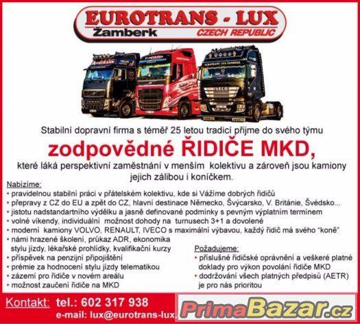 přijmeme řidič mezinárodní kamionové dopravy- Nabídka