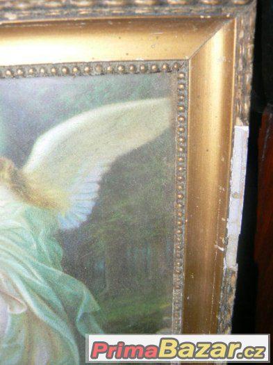 starožitný svatý obraz Anděl strážný ochraňuje děti