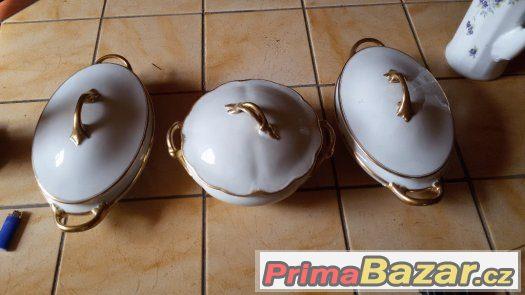 Pozlacené porcelánové značkové mísy Bavaria