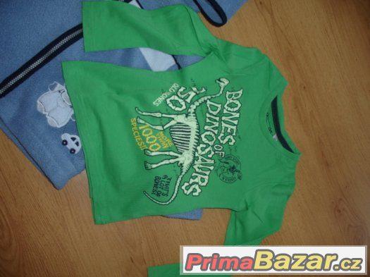 ce3eb8318 Setík - mikinky chlupatky a trička s dinem, vel. 98