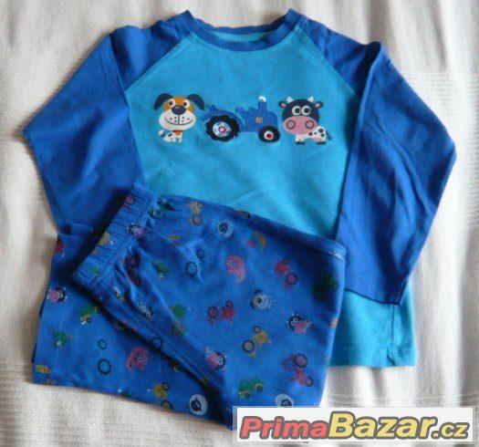 Modré pyžamko zvířátka, traktůrek - Next vel. 104