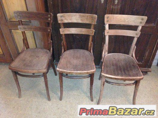 Židle Thonet, na opravu, 3 kusy, THONET WIEN