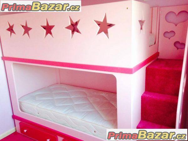 Dětská dvojpatrová postel STARS