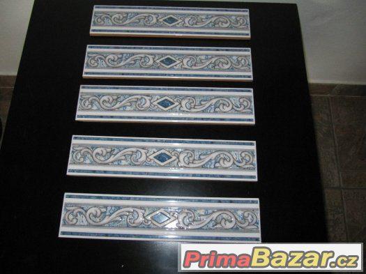 Obklad keramický-pásek DEKOR modrý-zbytky