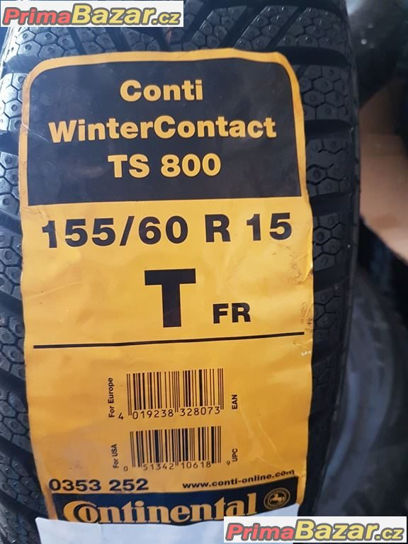 1x nová  pneu Smart Continental conti Winter Contact TS800 155/60 r15 74T