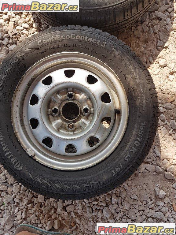 2xplechove disky Škoda s pneu 4x100 4.5jx13 et38