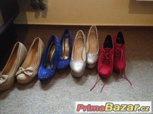28c8f7ac1d 1 ) 150 Kč bezové boty na klínku velikost 38 cena i s poštou 2) modré  krásné lodičky 200 Kč i s poštou velikost 38 ..3)zlaté lodičky kupovane na  1 večer 200 ...