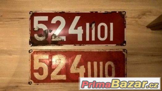 cedule ,čísla z lokomotiv , štítky
