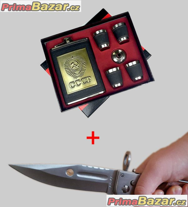 Exkluzivní | CCCP placatka s panáky a trychtýřem + CCCP nůž
